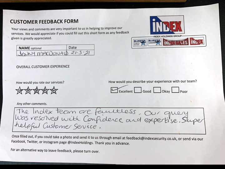 Customer Feedback: 5 stars - The index team are faultless, our query was resolved with confidence and expertise. Super helpful customer service.