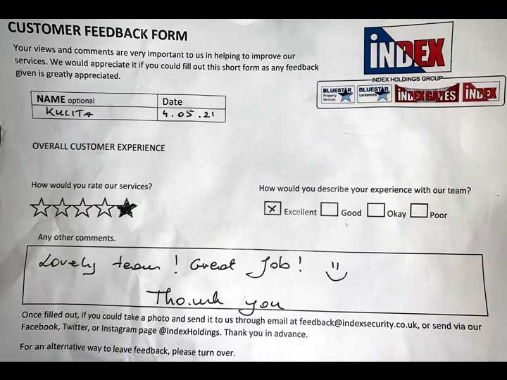 Customer Feedback: 5 stars - Lovely team! Great job! :) Thank you.